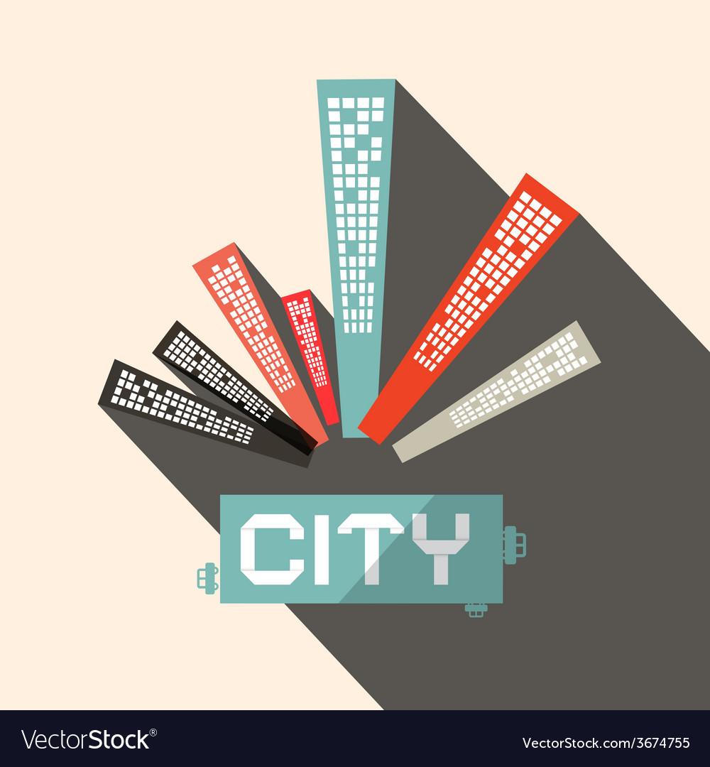 Long Shadow Flat Design City