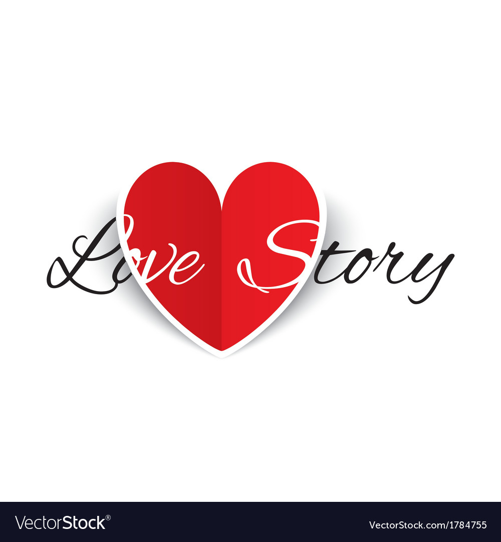 Love story paper heart sign valentines day card