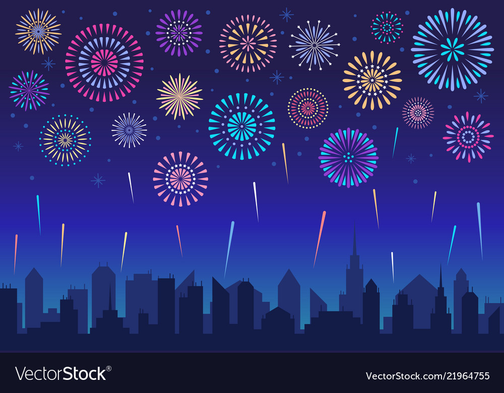 Night city fireworks holiday celebration firework