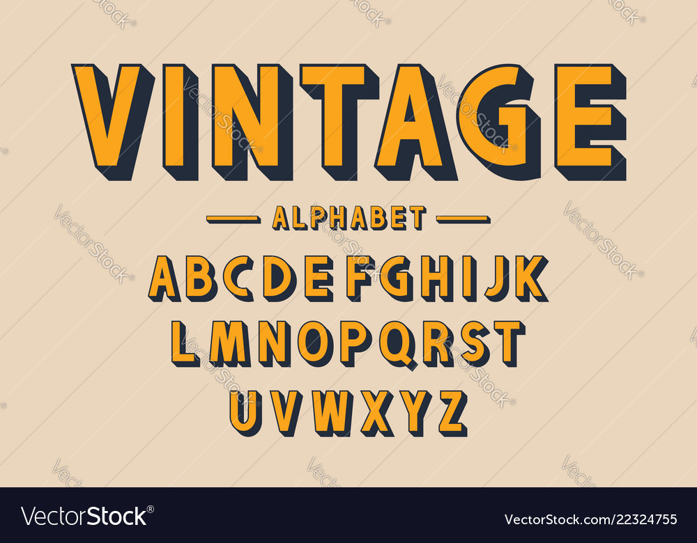 Retro bold font and alphabet strong letters with