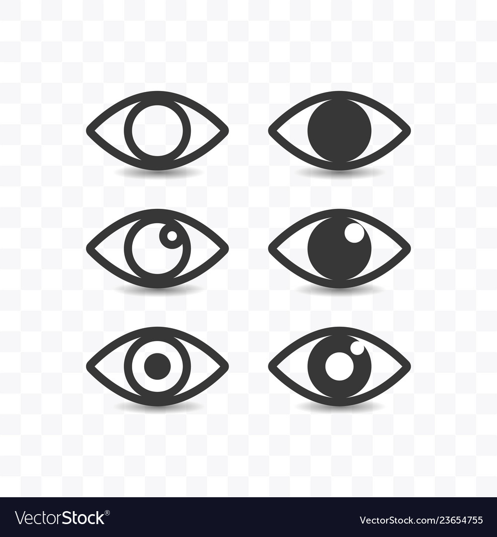 Set of eye icon simple flat style