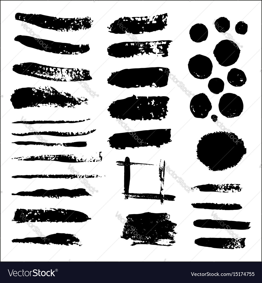 Set of grunge black paint ink brush vector image