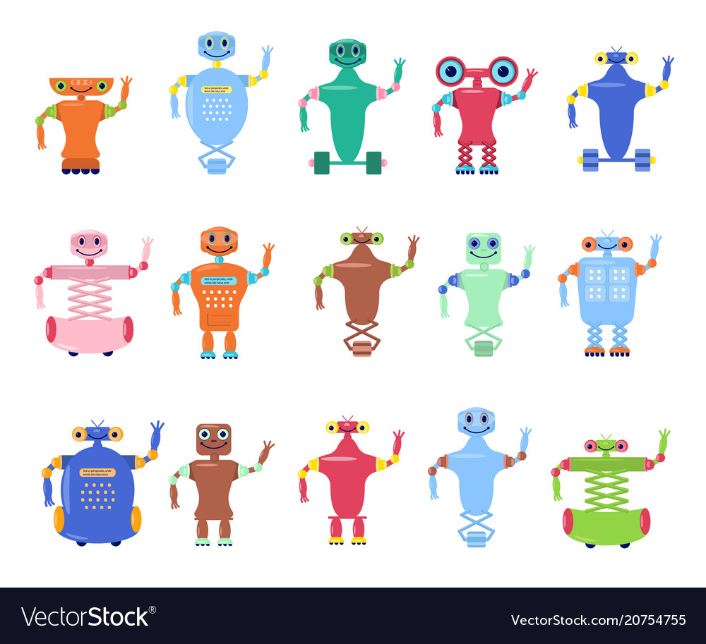 Set of robots toys