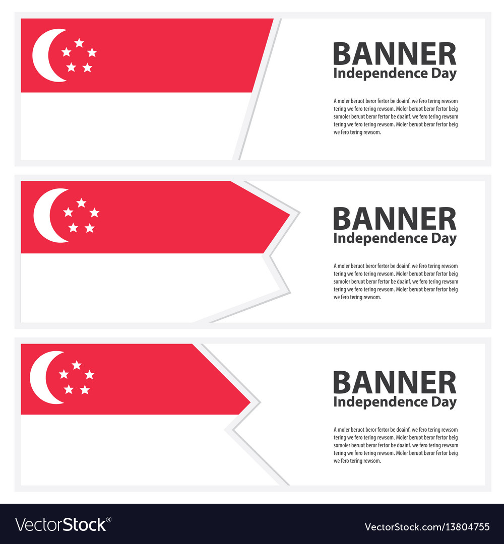 Singapore flag banners collection independence day vector image