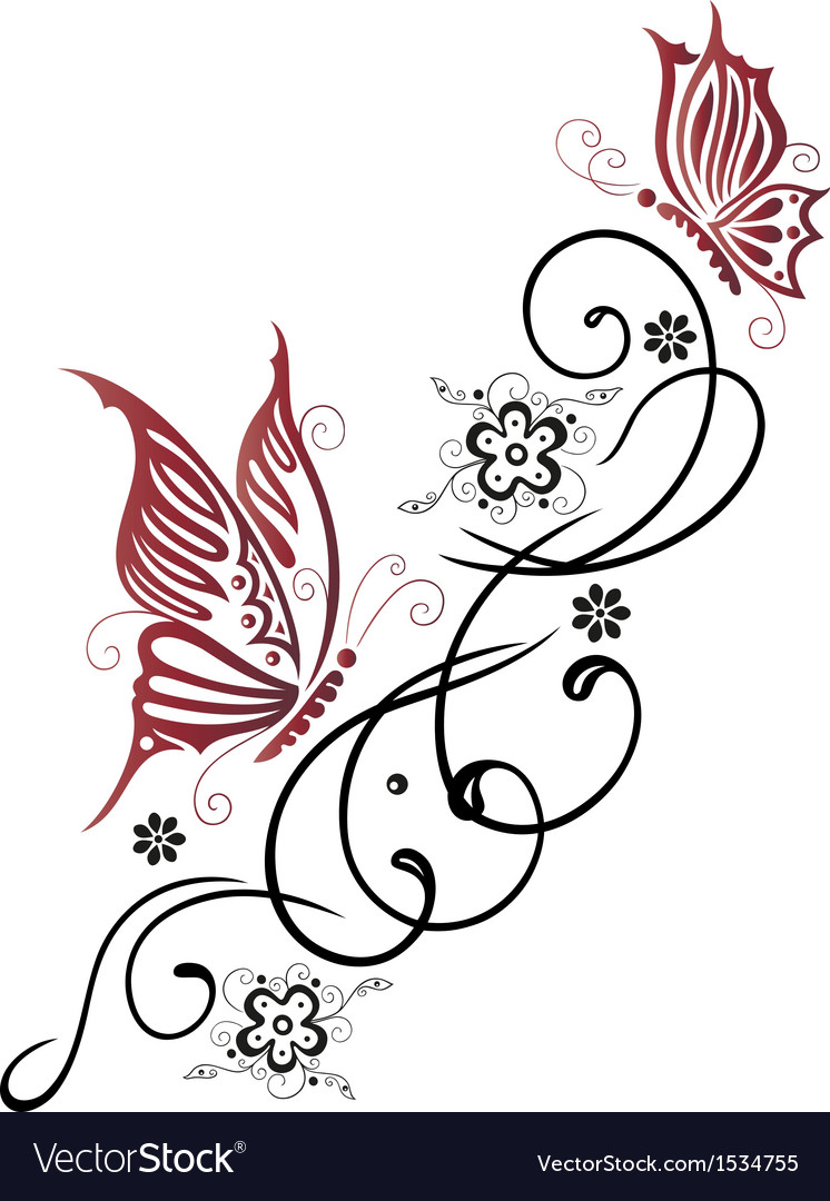 Tribal flower butterfly tattoo style