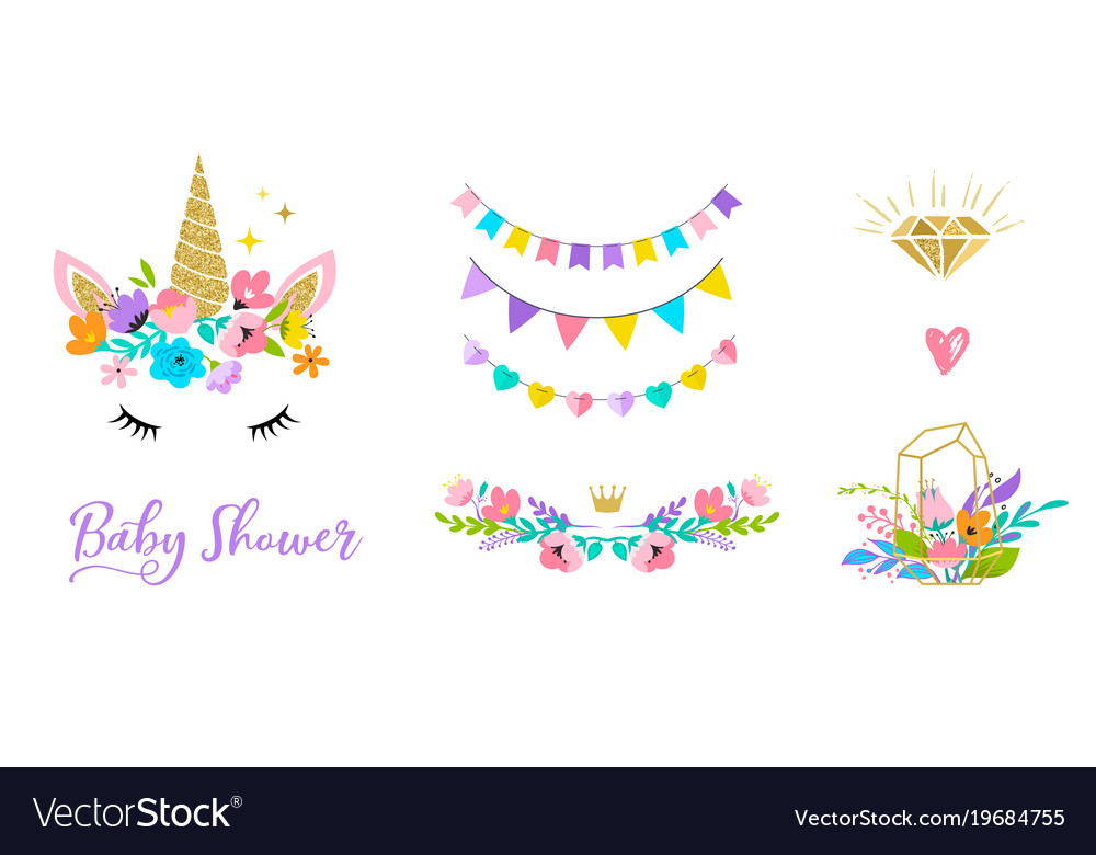Unicorn head with flowers - card and shirt design