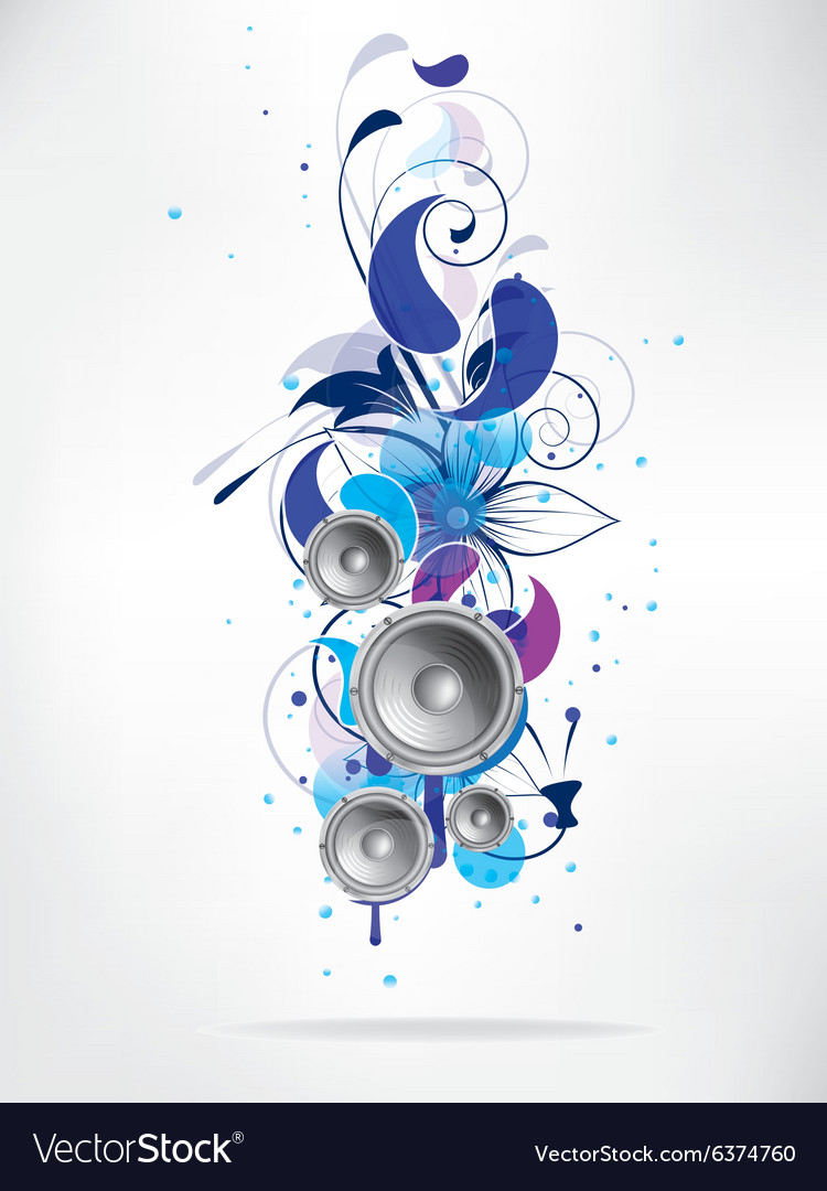 Abstract music background with floral elements and