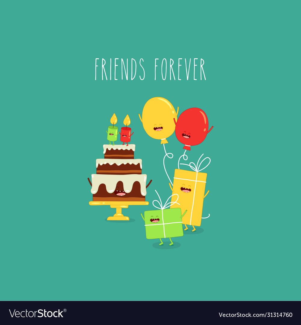 Birthday cake balloons friends forever