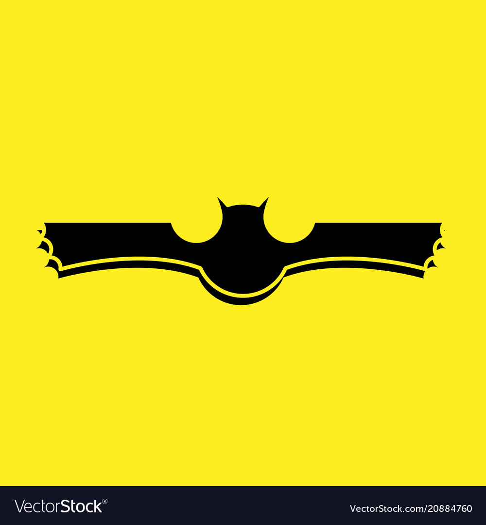 Black bat logo with yellow background vector image