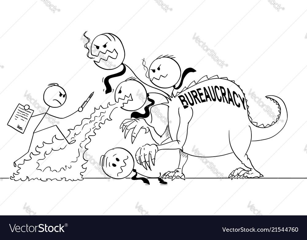 Cartoon of man or businessman fighting against