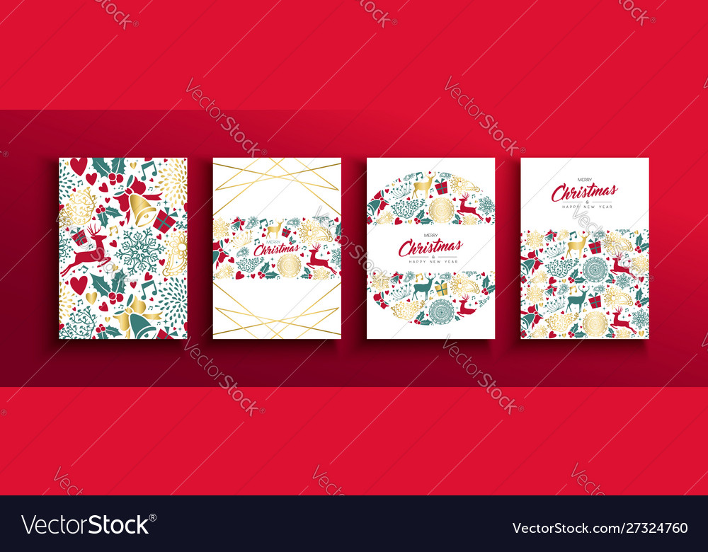Christmas new year vintage holiday icon card set