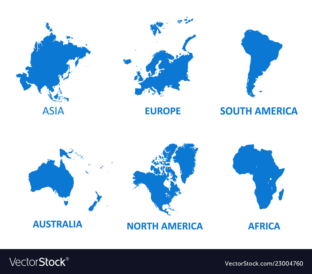 Continent map on white background Royalty Free Vector Image