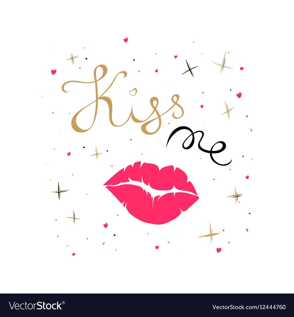 Kiss me card vector image