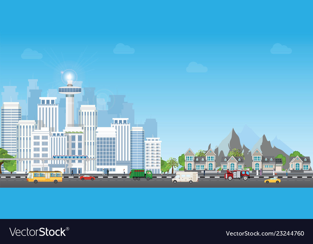 Landscape city with large modern buildings and