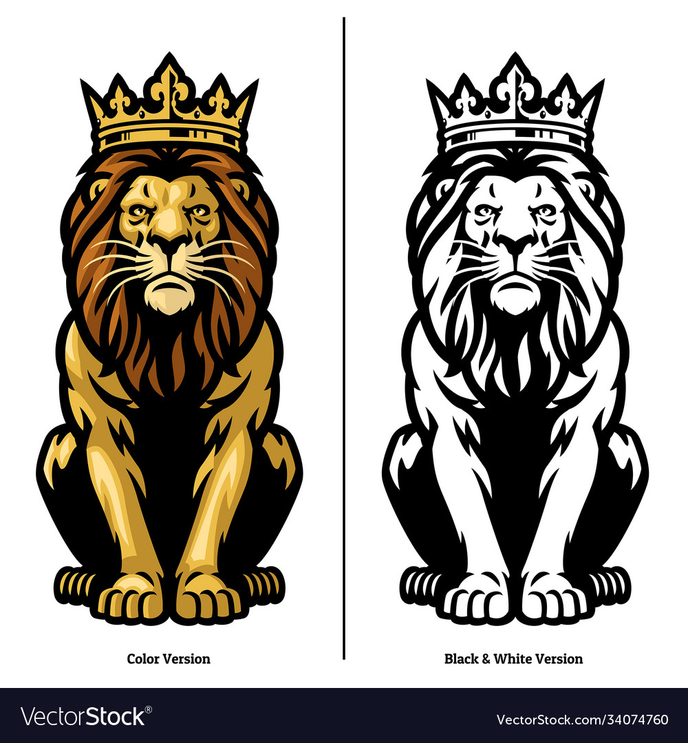 Mascot lion king wearing crown vector