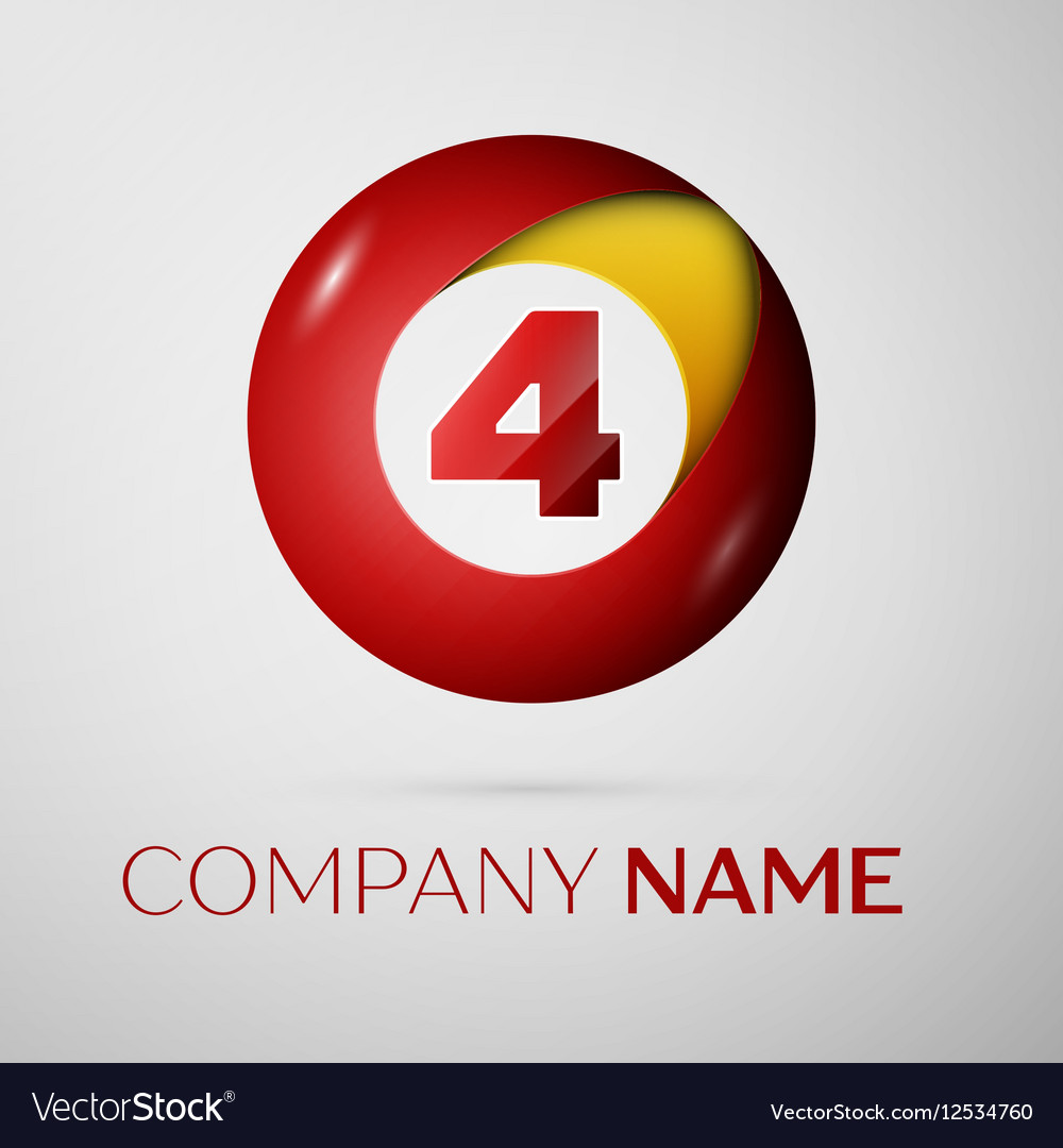 Number four logo symbol in the colorful circle on