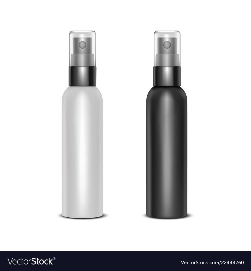 Realistic detailed 3d blank spray bottles set