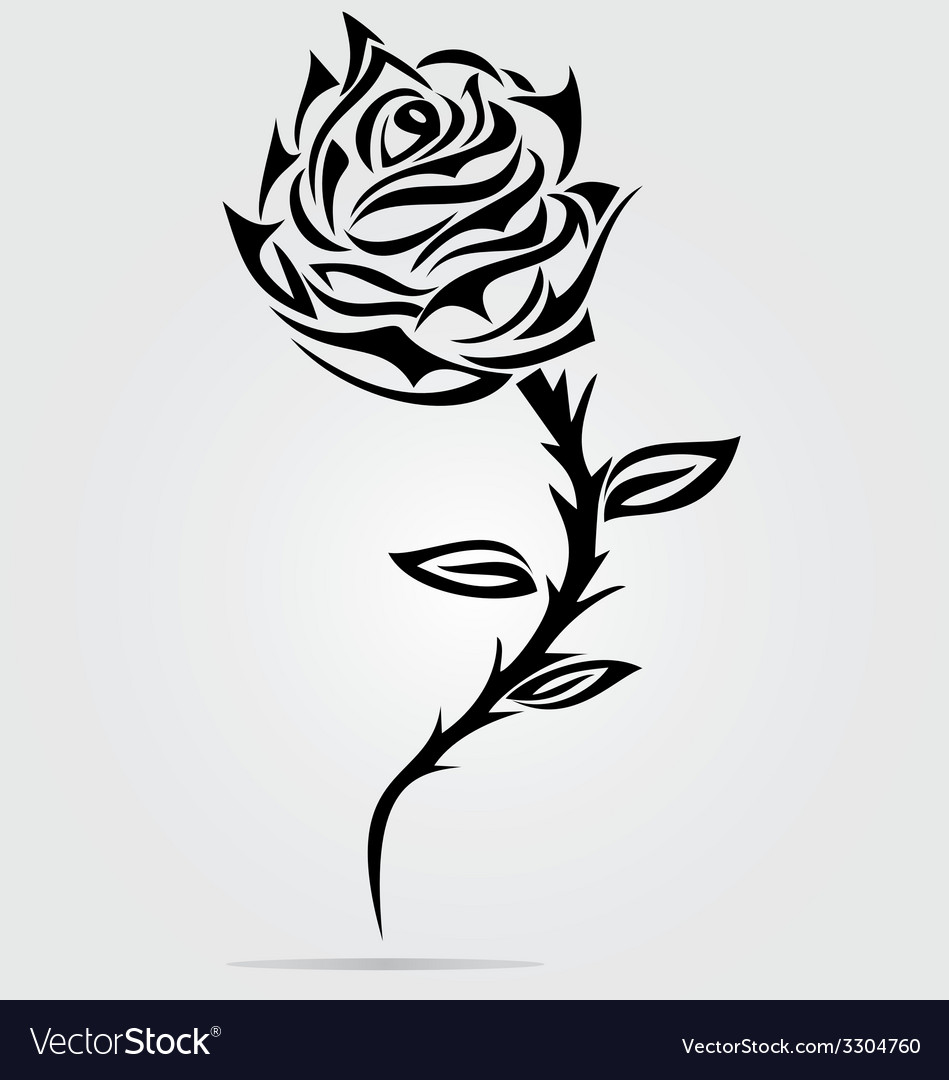 Rose Flower Tattoo Design Royalty Free Vector Image