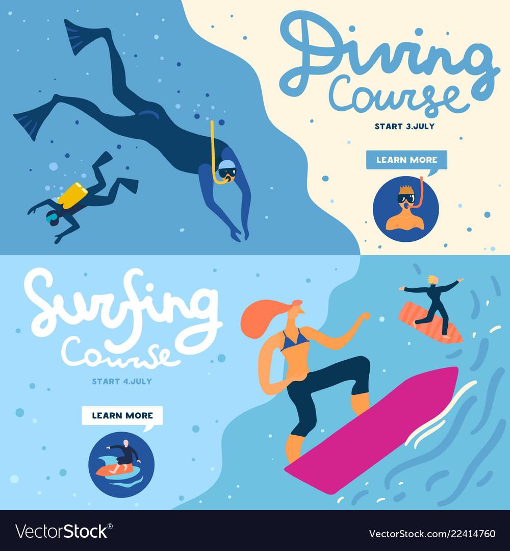 Sea activities banners set