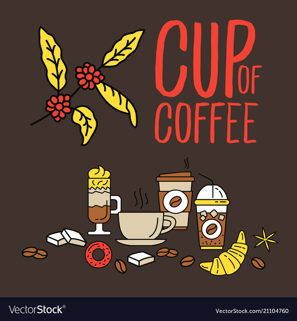 Set of flat line colored flat coffee icons