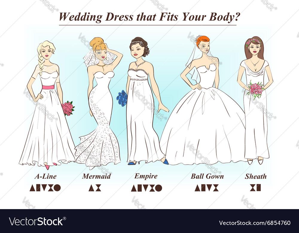 Set Wedding Dress Styles For Female Body Shape Vector Image