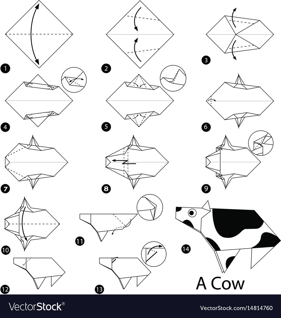 Step instructions how to make origami a cow