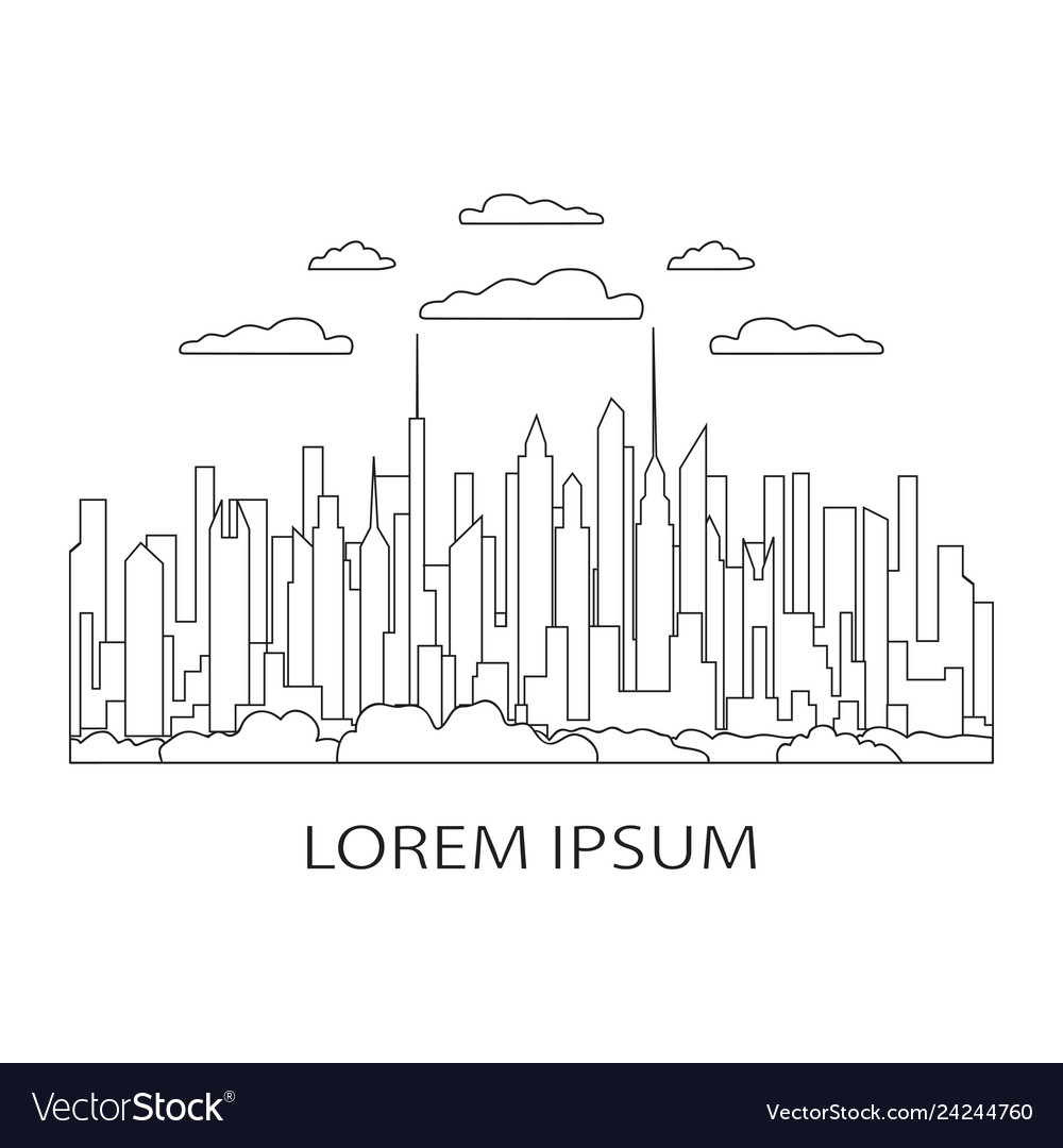 Thin line city landscape icon panorama design
