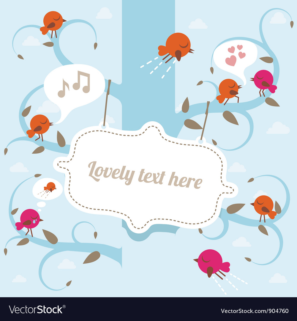 Tree with banner and birds vector image