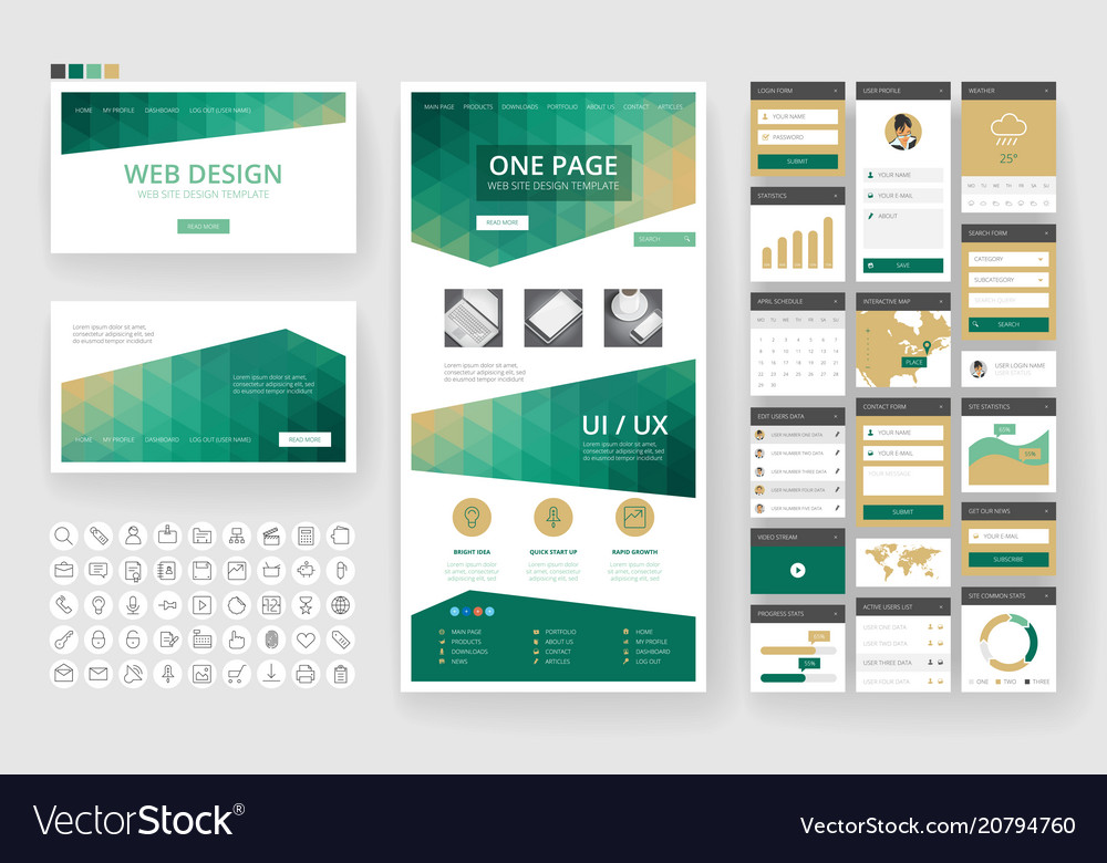 Website design template and interface elements vector image maxwellsz
