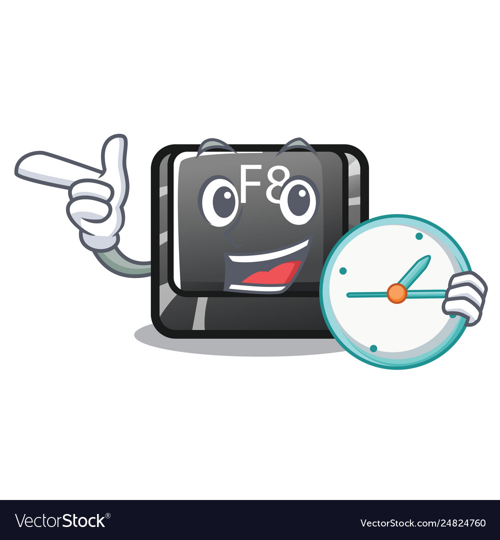 With clock button f8 isolated cartoon