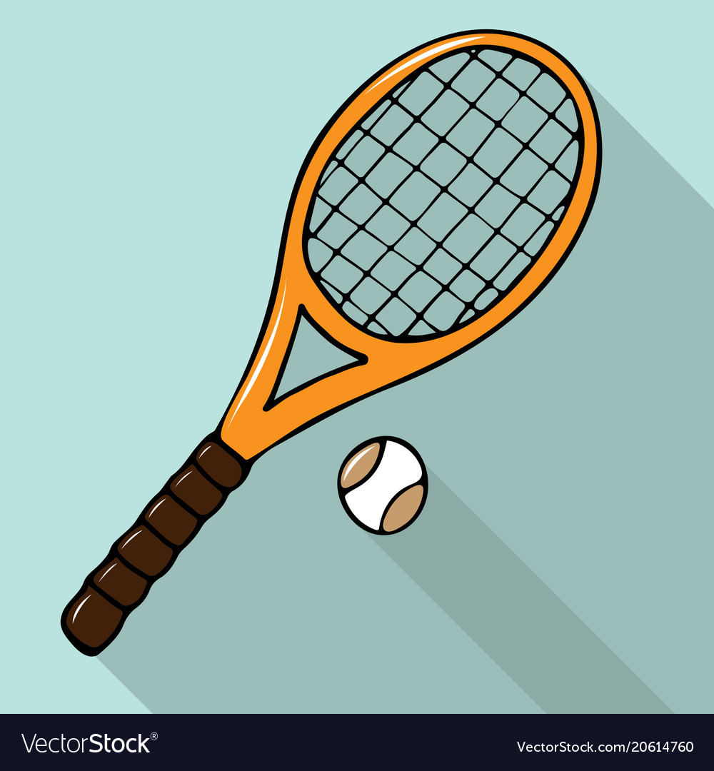 With hand-drawn tennis racket