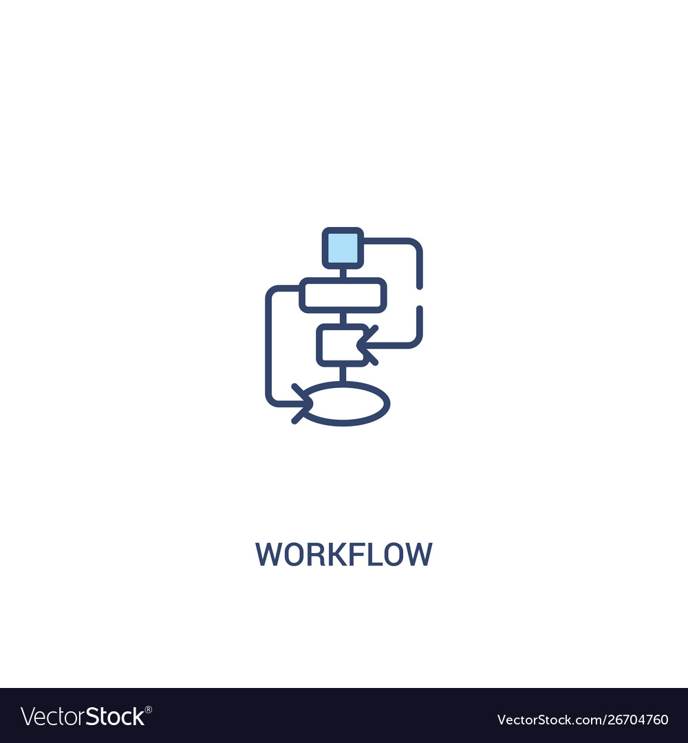 Workflow concept 2 colored icon simple line