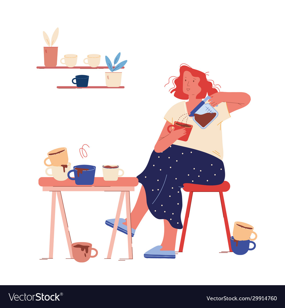 Young woman sitting on kitchen with cup coffee