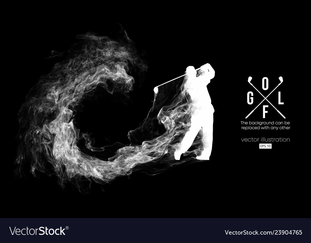 Abstract silhouette a golf player golfer