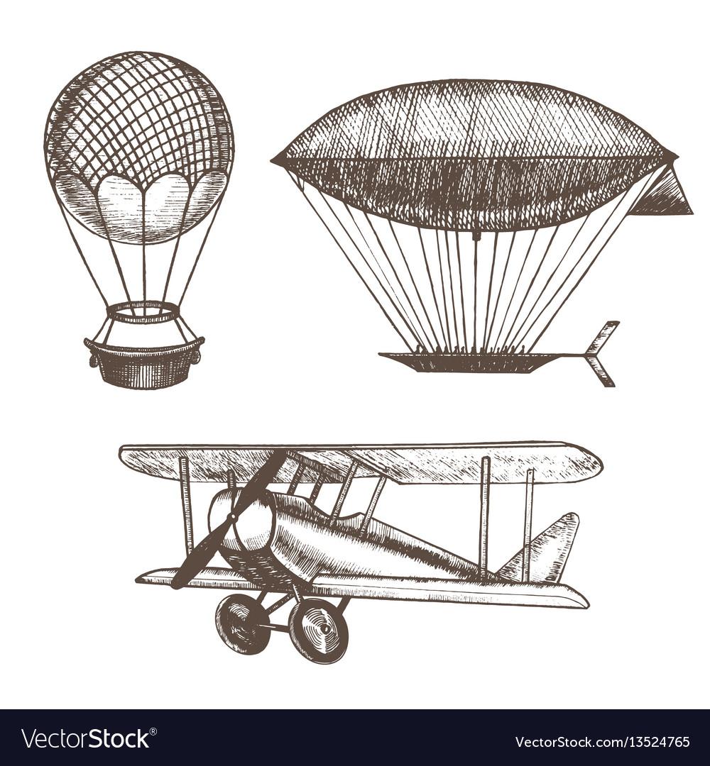 Air balloons and airships hand draw sketch