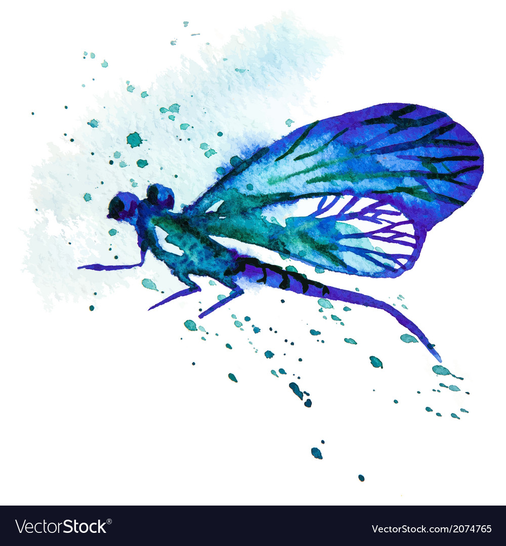 Blue Watercolor Dragonfly