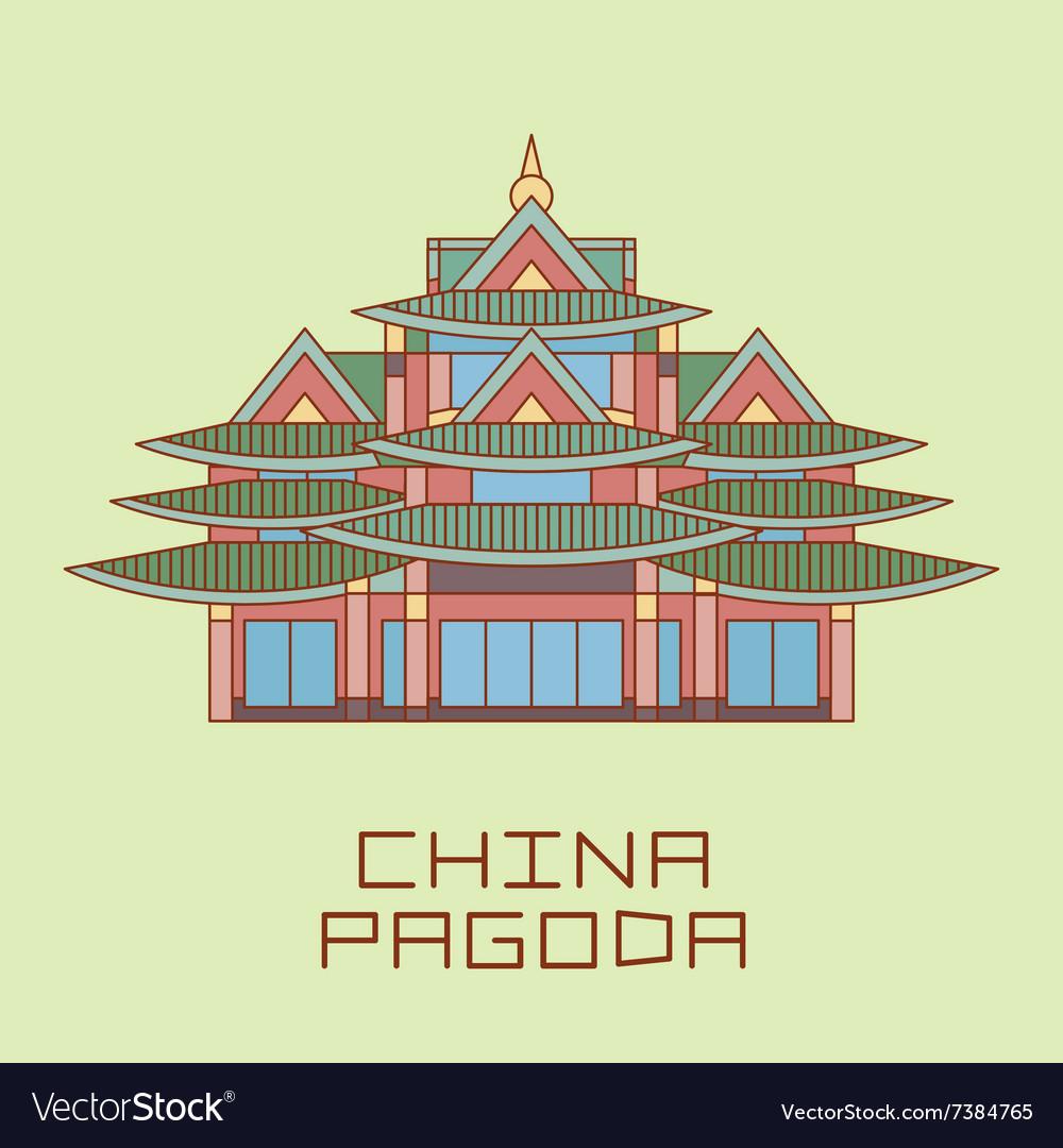 Buddist Pagoda white line drawn
