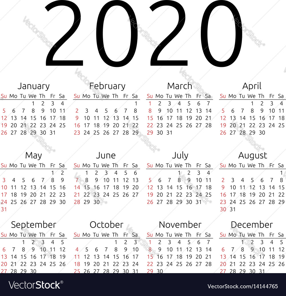Calendar 2020 Vector Calendar 2020 sunday Royalty Free Vector Image