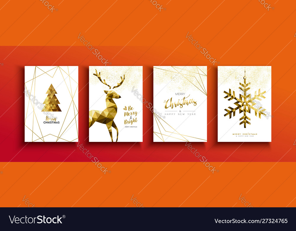 Christmas and new year gold low poly deer card set