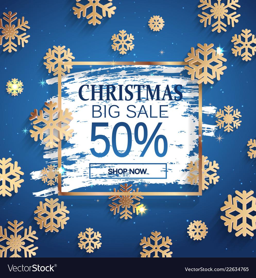 Christmas big sale gold frame with snowflakes