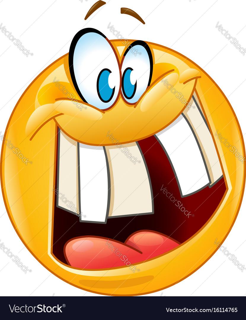 Crazy smile emoticon vector image