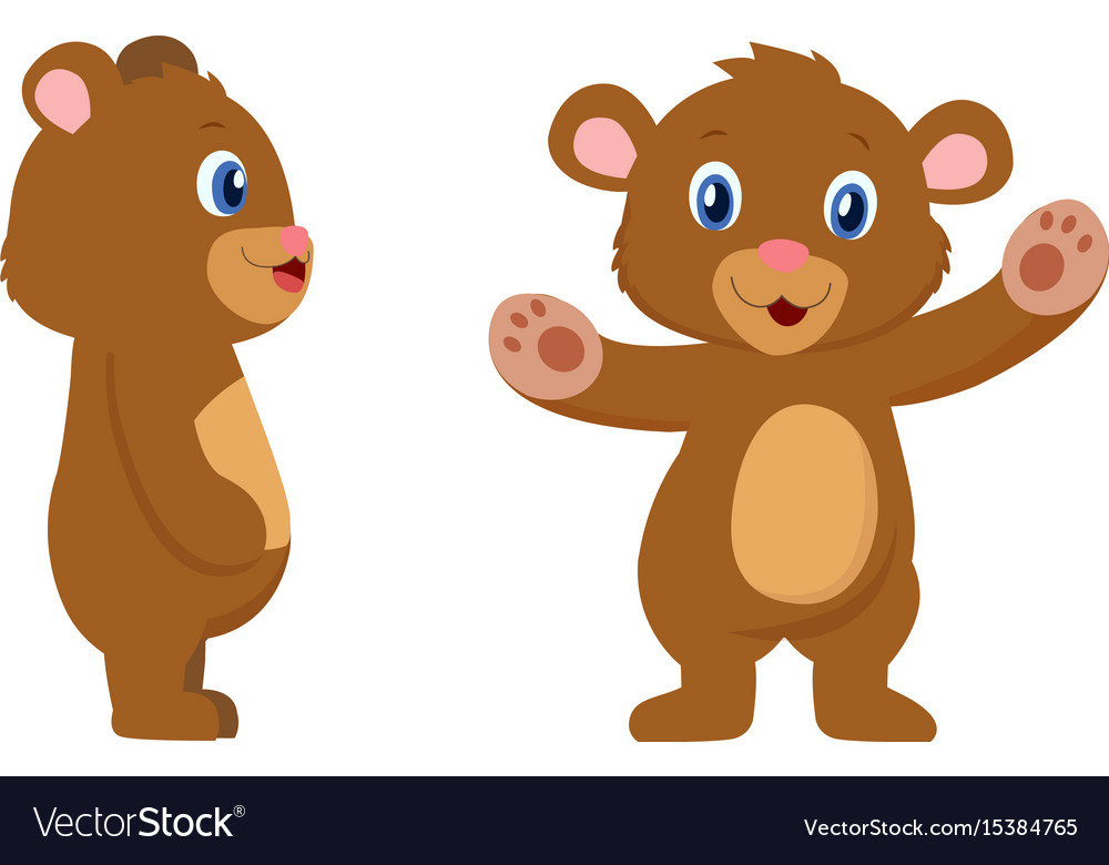 Cute bear cartoon character front and sides view