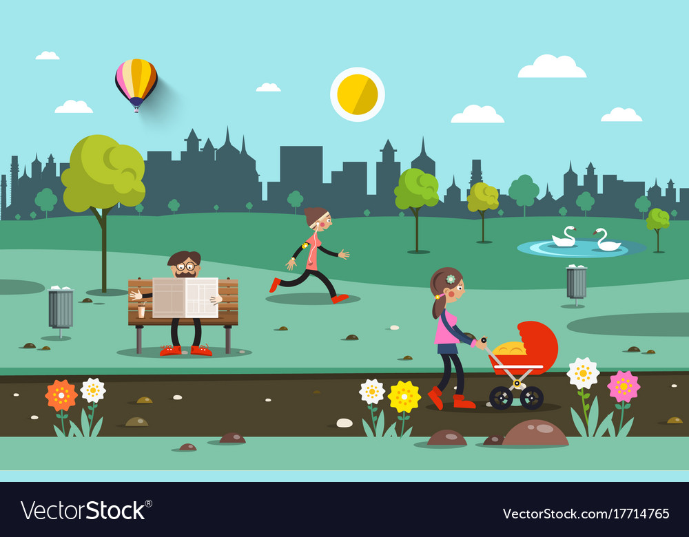 Flat city park people with skyscrapers on vector image