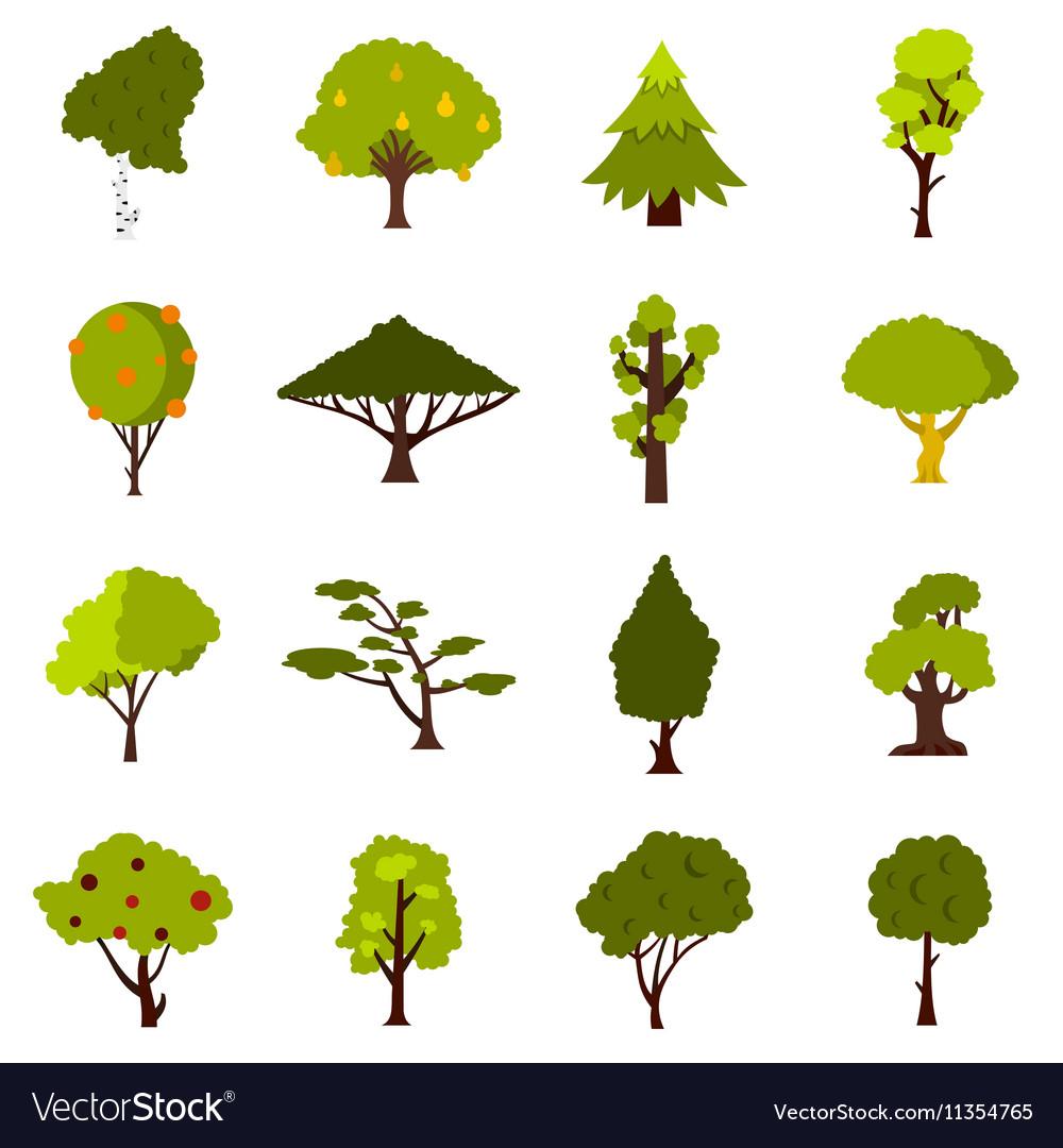 Green tree icons set flat style