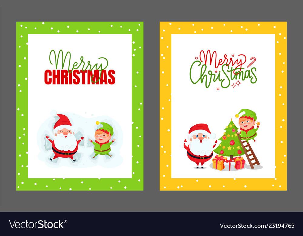 Greeting cards christmas tree santa and elf