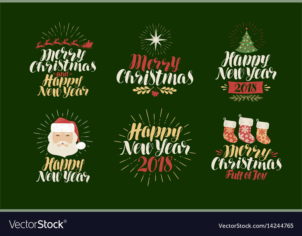 Merry christmas happy new year label set xmas