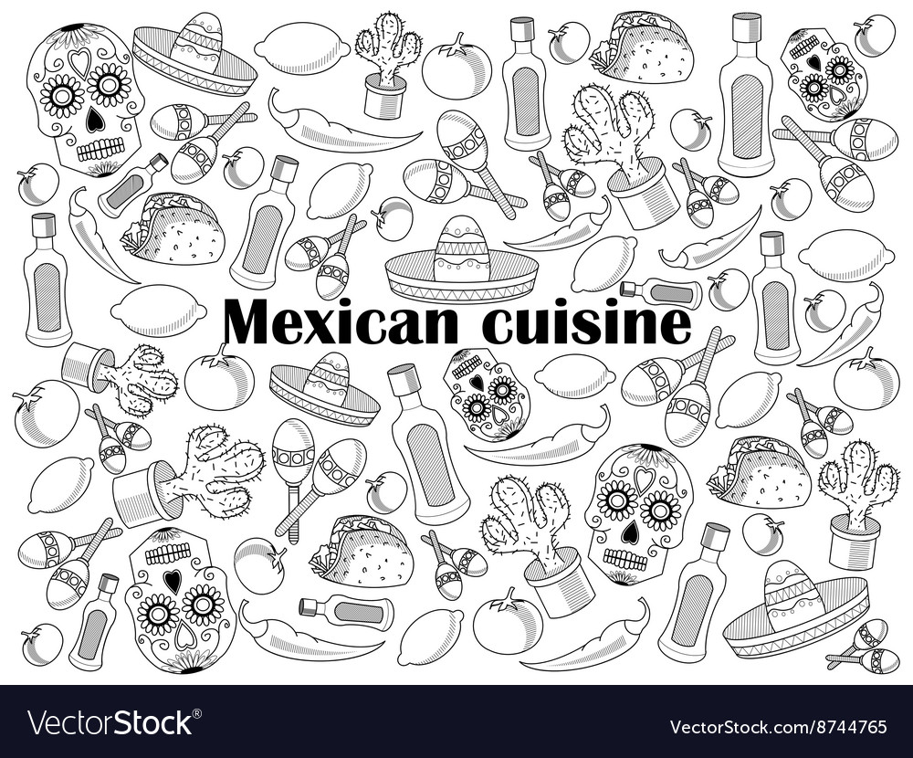 Mexican cuisine colorless set