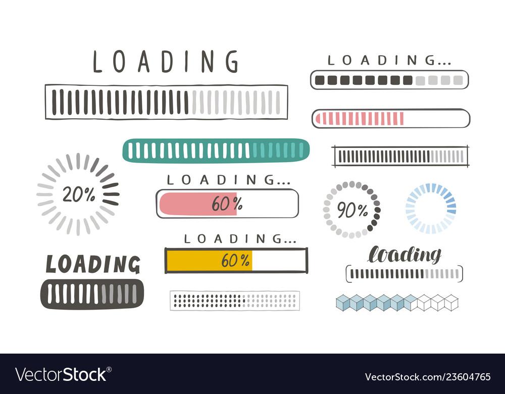 Progress loading bar set of icons load symbol