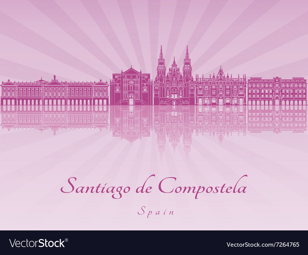 Santiago de Compostela skyline in purple radiant