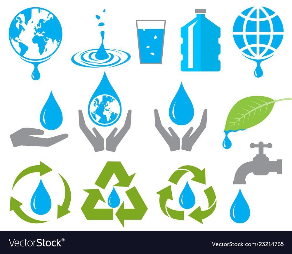 Save water sign symbol set